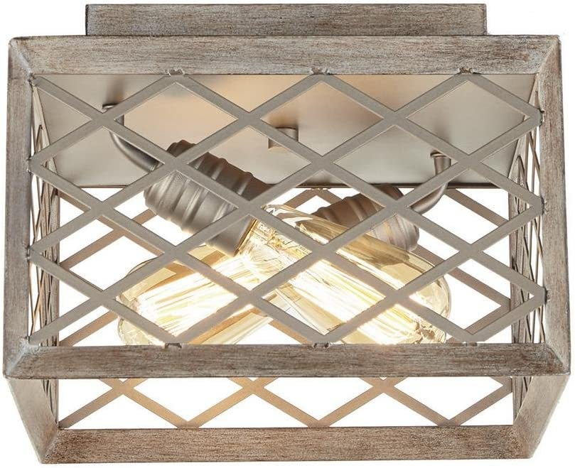 Home Decorators Collection 11 in. 2-Light Gilded Pewter Flushmount with Interweaving Cage Frame