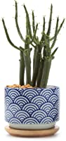 T4U 3 Inch Ceramic Japanese Style Serial No.3 Succulent Plant Pot, Blue Waves Cactus Plant Pot Flower...