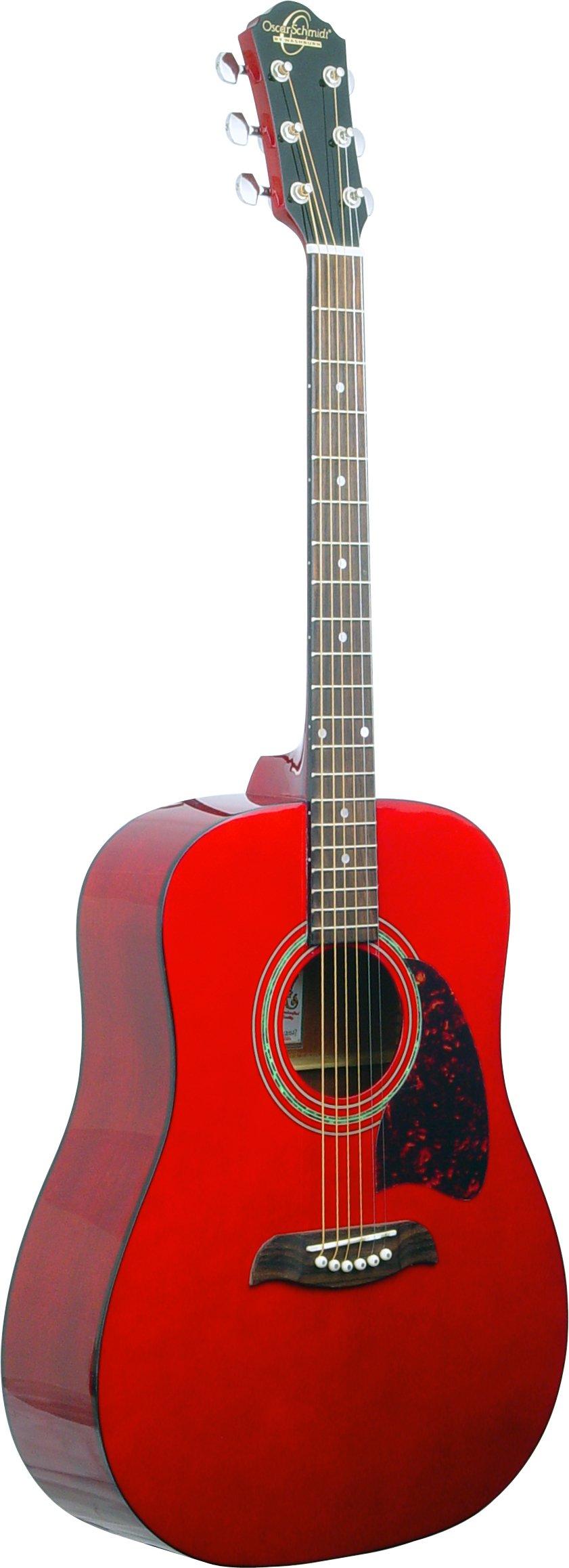 Oscar Schmidt OG2 Dreadnought Acoustic Guitar - Transparent Red