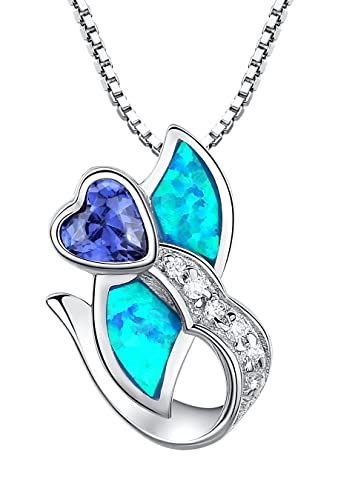 Sterling Silver Heart Flower W. Blue and Green Fire Opal Inlay and Purple Cubic Zirconia Pendant Necklace - SC091n4 EOiEAaGpeM