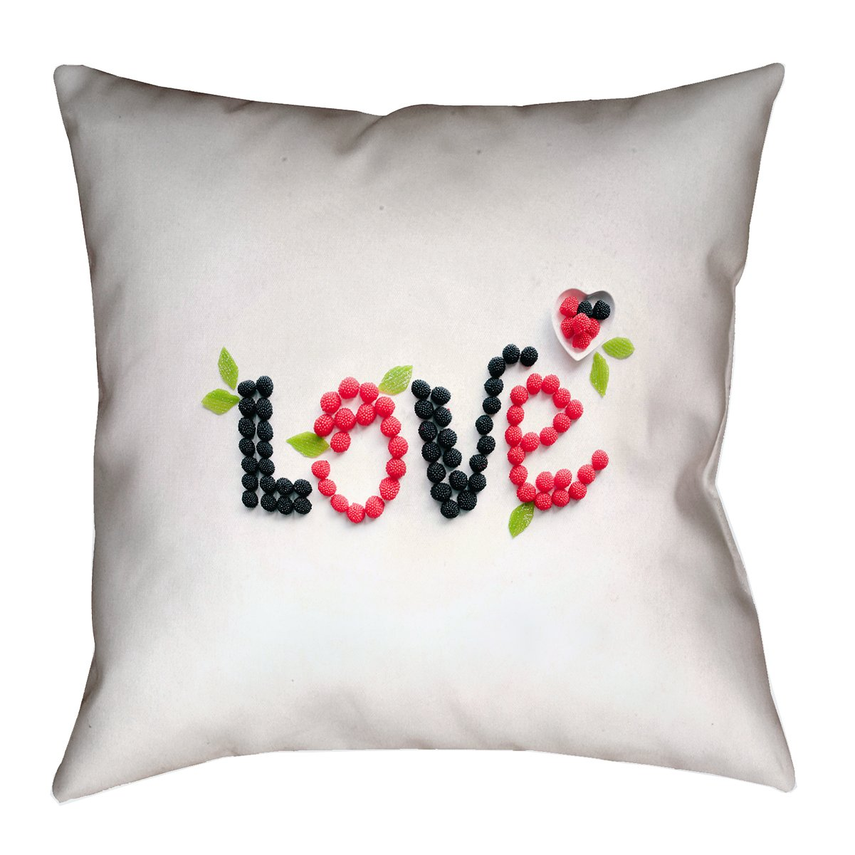 ArtVerse Brooke Lark 40' x 40' Floor Double Sided Print with Concealed Zipper & Insert Love and Berries Pillow SMI054F4040L