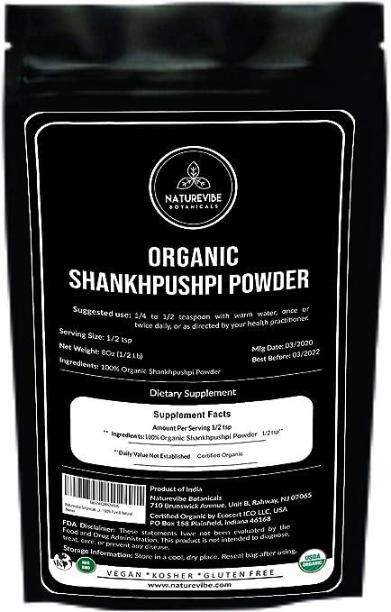 Amazon Com Naturevibe Botanicals Usda Organic Shankhpushpi Powder 8 Ounces Convolvulus Pluricaulis 100 Pure Natural Supports Immunity System Packaging May Vary Health Personal Care