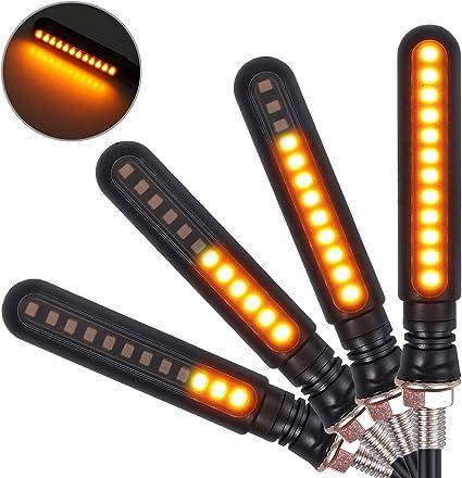 12LED Flowing Universal Motorcycle Motorbike Turn Signal Light Indicator Amber