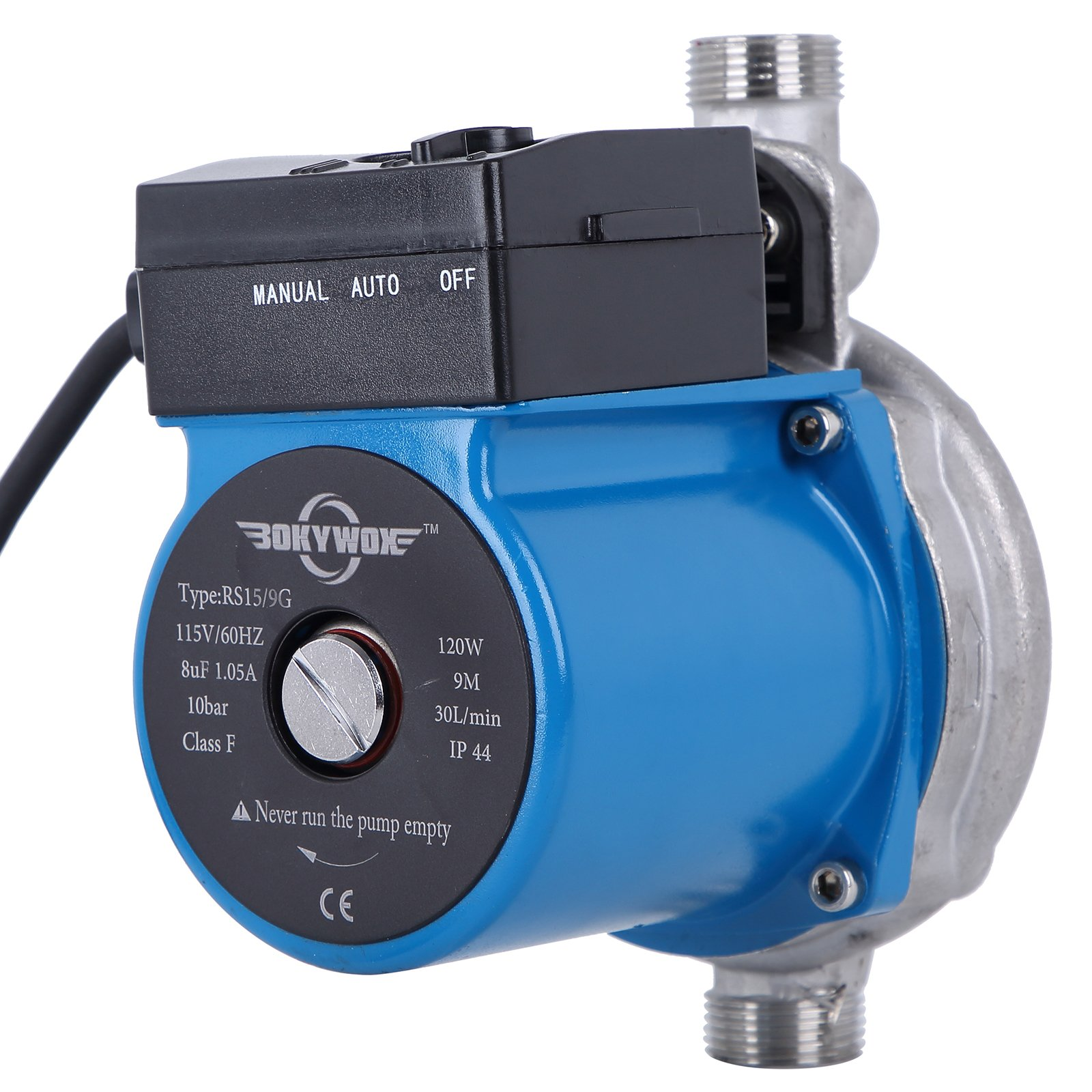 BOKYWOX 3/4'' 110V Hot Water Circulation Pump 120W Automatic Booster Water Pump For Solar Heater System(automatic stainless steel blue)