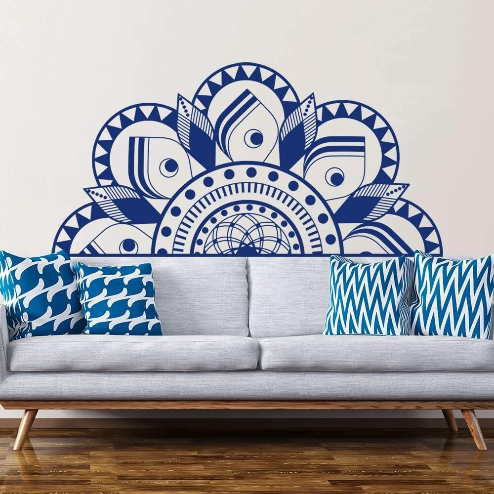Half Mandala Wall Decal Dormitorio decoración de la cabecera Wallpaper Aerobic Remote Wall Art Decal Wind Mandala Sticker Pegatina extraíble 151x75cm: Amazon.es: Hogar