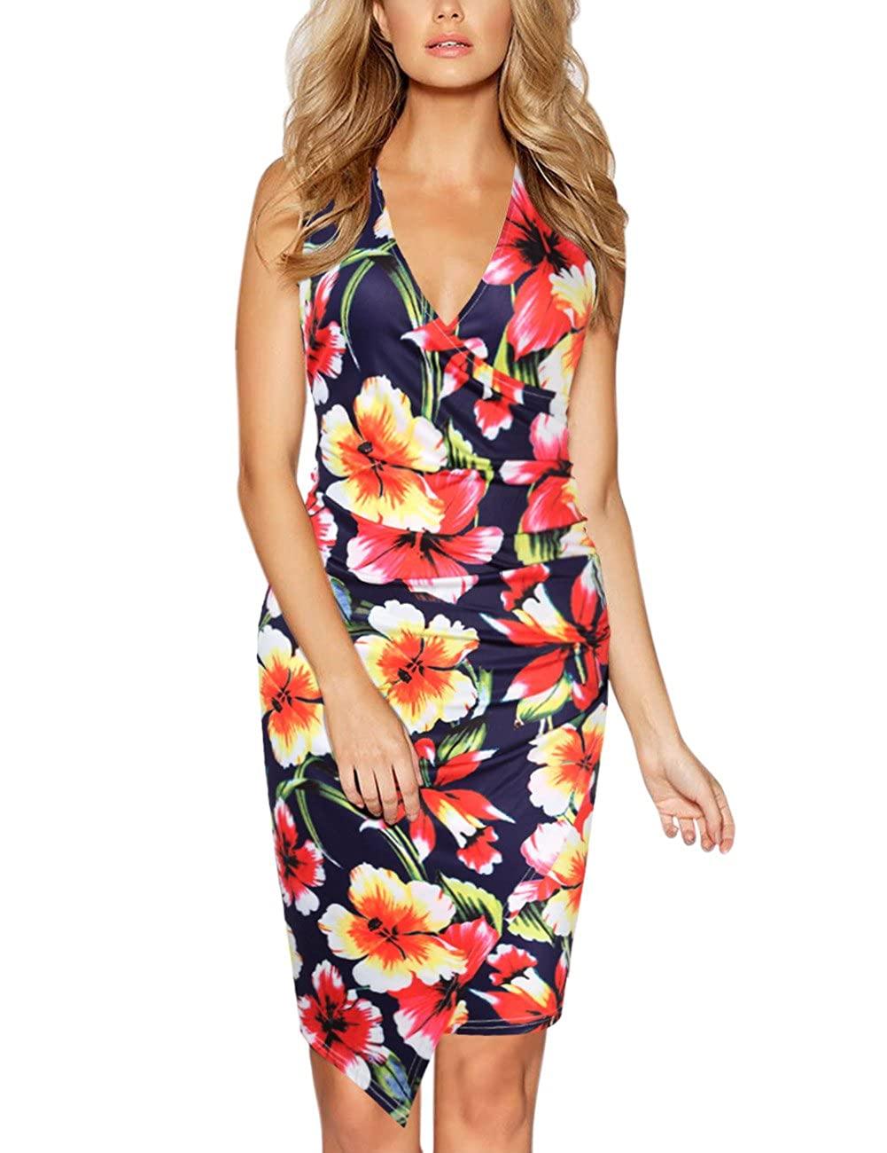 bluee&floral GlorySunshine Women's Sleeveless V Neck Faux Wrap Ruched Midi Bodycon Cocktail Pencil Dress