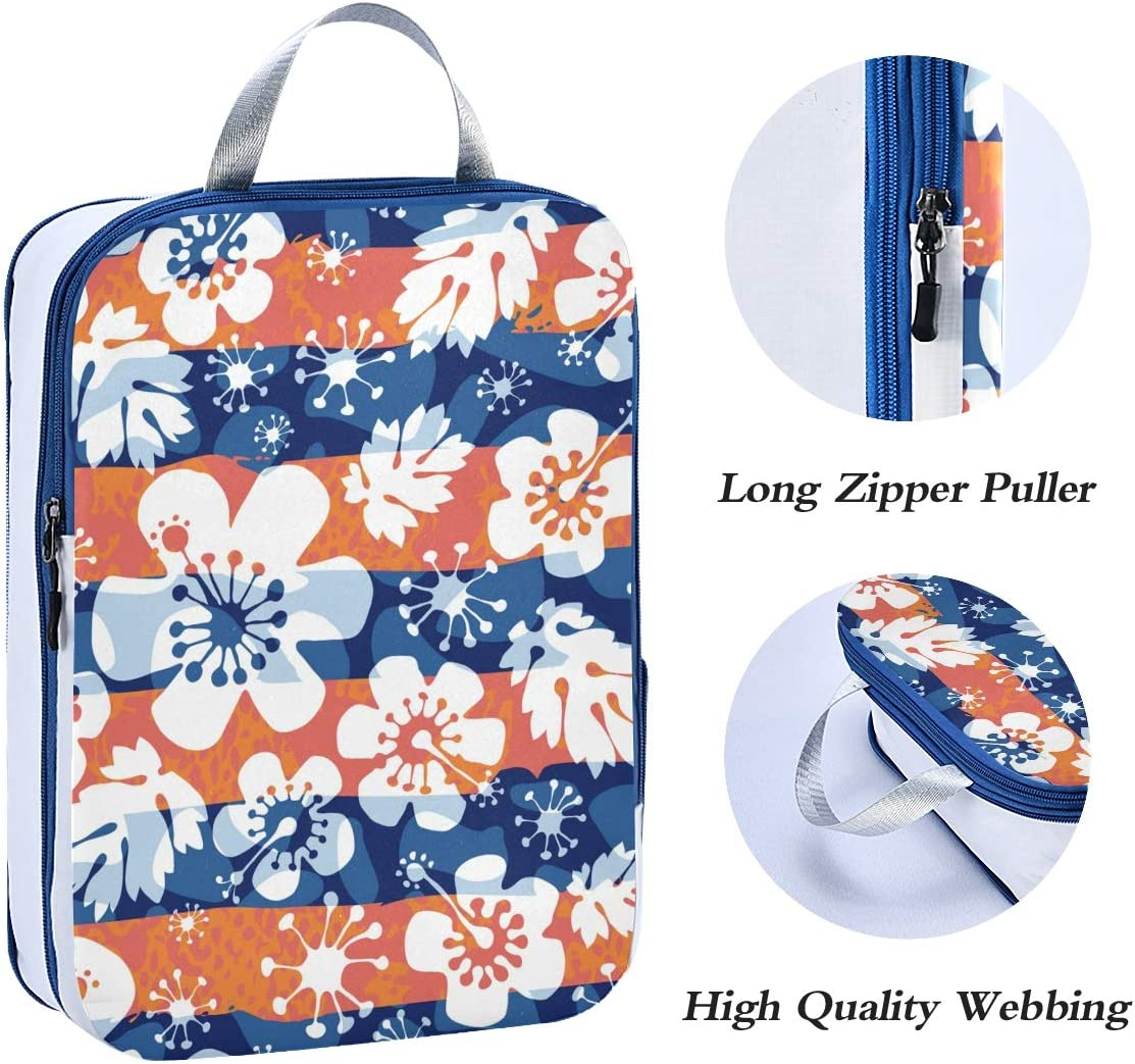 ATONO Abstract Flowers Seamless Background Travel Packing Cubes Luggage Organizer Bags Storage 3 Pack Sets Toiletries Shoe Bag for Business Trip Holiday Kids/&Adults