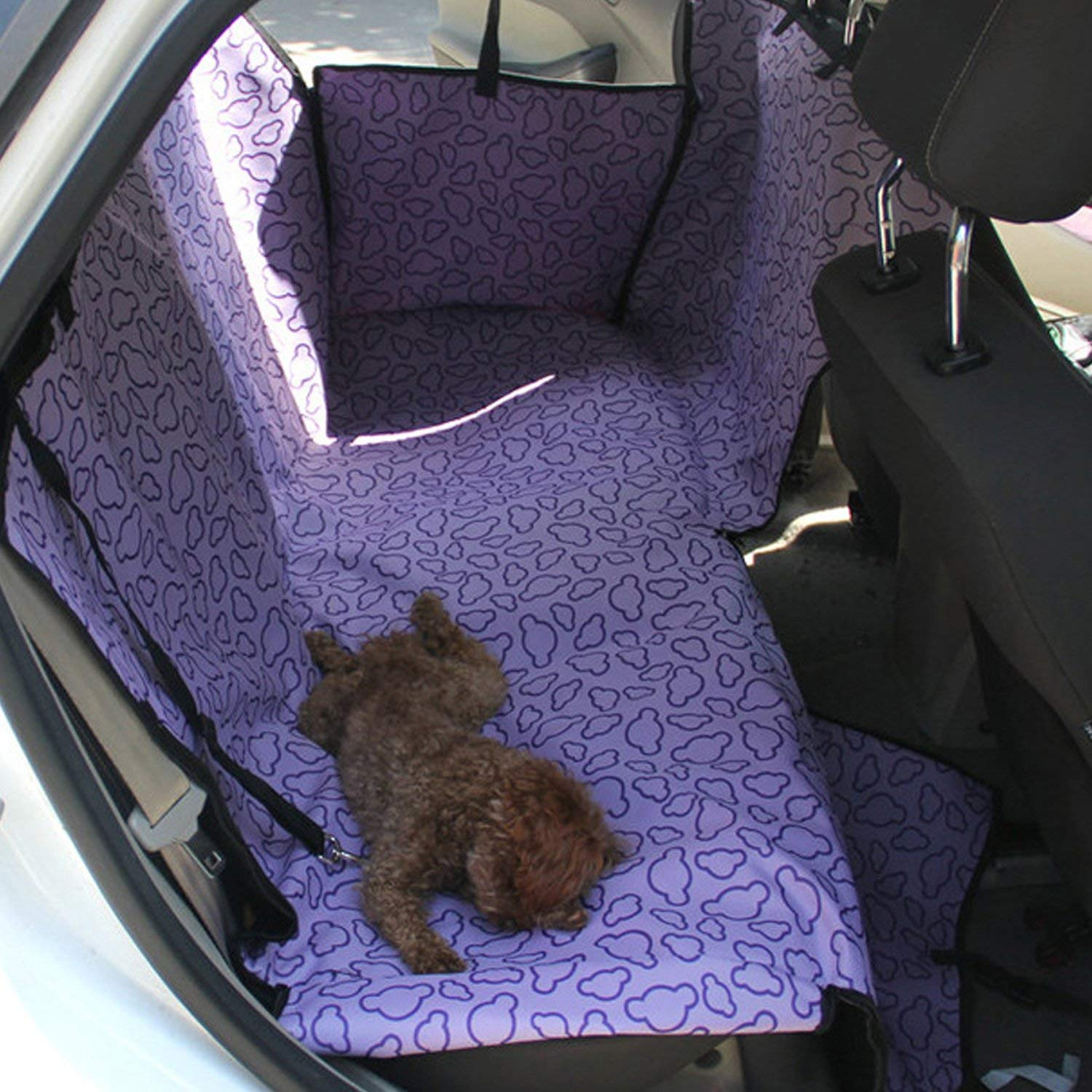 Purple Gozier Car Rear Back Double Seat Carrier Predector Mat Cover Hammock Pet Dog Cat Washable Double Layer Waterproof Rear Adjustable Locking Seat Clasps (Purple)