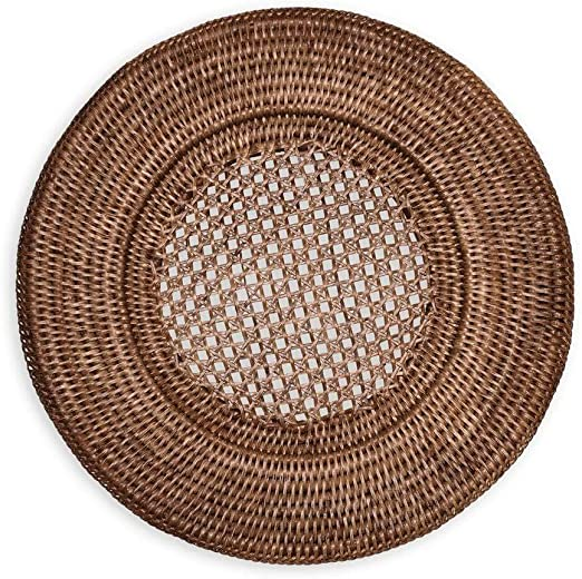 Standard Round Rattan Charger Plate for Paper Plates set of 6 FREE Shipping