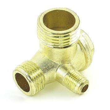 Rosca Macho 90 Degree compresor de aire latón válvula de retención tono de oro: Amazon.es: Bricolaje y herramientas