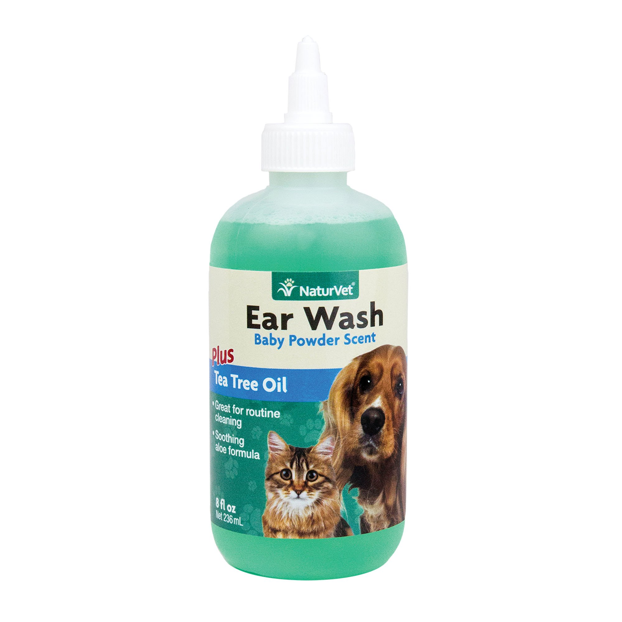 NaturVet Gentle Pet Ear Wash & Odor Reducing Treatment with Aloe & Tea Tree Oil, Safe for All Dogs & Cats, Made