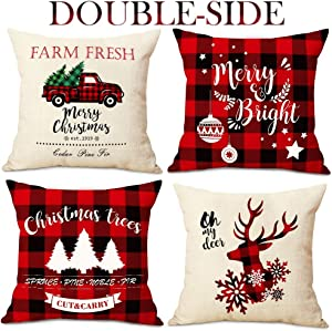 OurWarm Christmas Throw Pillow Covers 18 x 18 Set of 4, Red and Black Buffalo Plaid Christmas Decorations Cotton Linen Cushion Covers Throw Pillow Cases