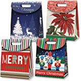 Gift Boutique Small Christmas Foldover Gift Bags with Handles 12 Pack 4 Assorted Holiday Designs For Easy Wrapping Kids Presents Prizes & Goody Stuffers