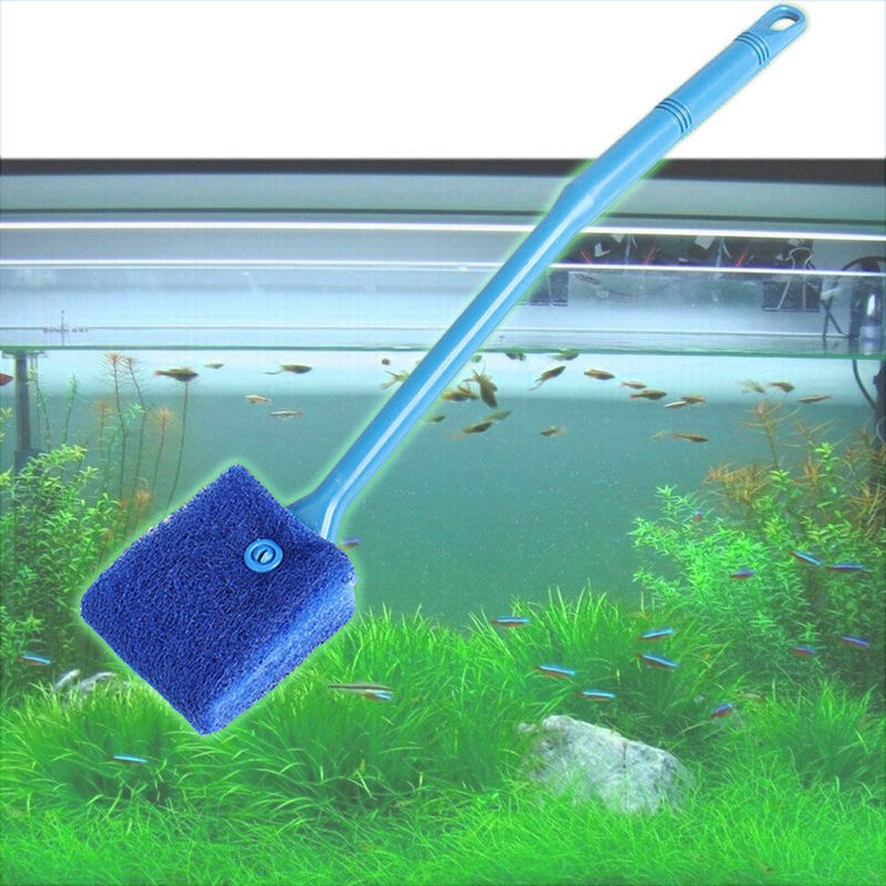 Tuscom Practical Aquarium Plant Algae Cleaner Glass Fish Tank Clean Cleaning Double Sided Long Handle Brush Sponge (2 colors) (Blue)
