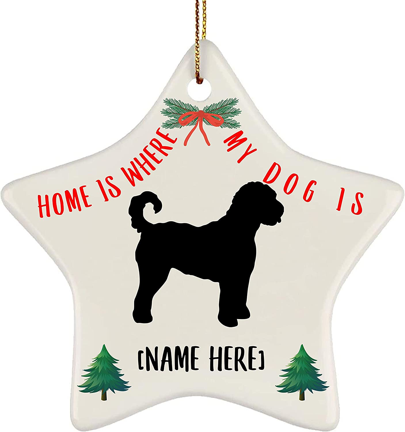 Lovesout Personalized Name Goldendoodle Silhouette Home is Where My Dog is Christmas Star Ornament