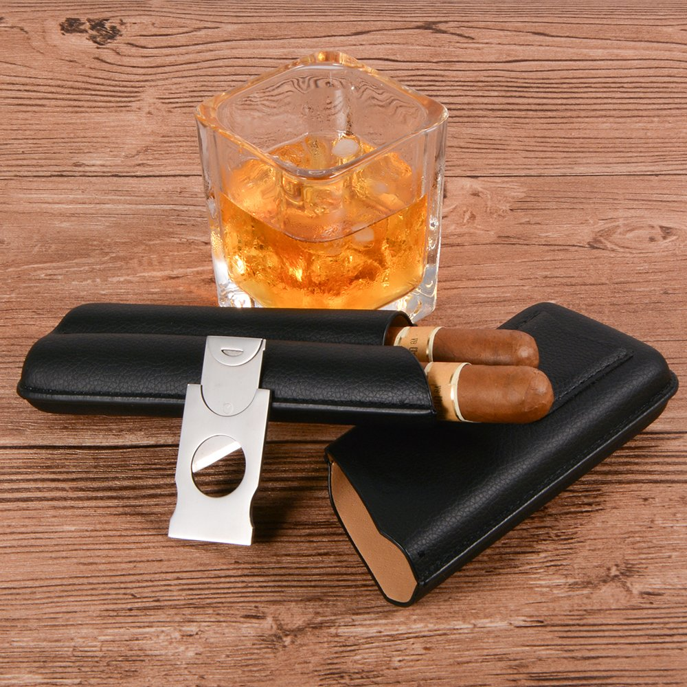 Volenx Cigar Case, 2 Cigars Black Leather Cigar Travel Case with Cutter