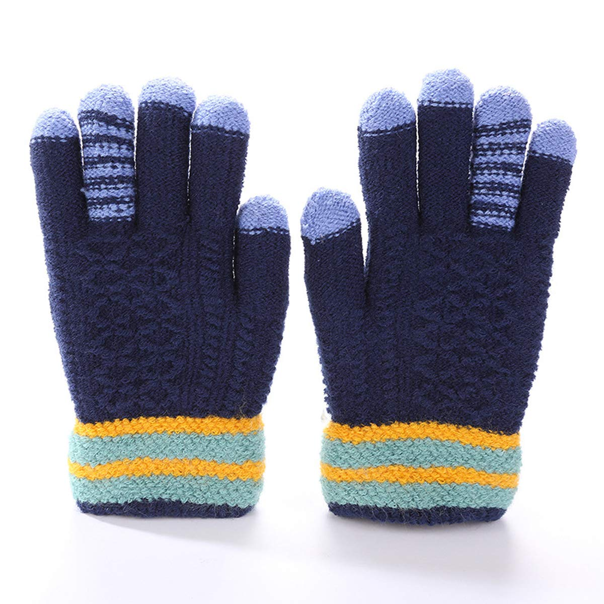 Kids Winter Gloves Boys Knit Gloves Magic Gloves Fleece Lined Full Finger Children Mittens Gloves 6-15 years old)