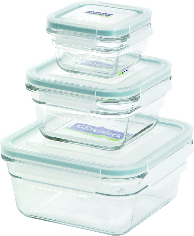 Glasslock 11341 6-Piece Square Oven Safe Container Set