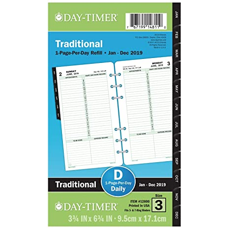 Day-Timer 2019 Daily Planner Refill, 3-3/4