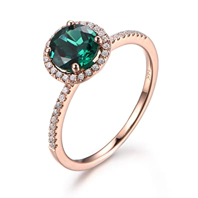 15cdf1a70ee0b 7mm Round Cut Emerald Engagement Ring, 14K Rose gold, Halo Diamond ...