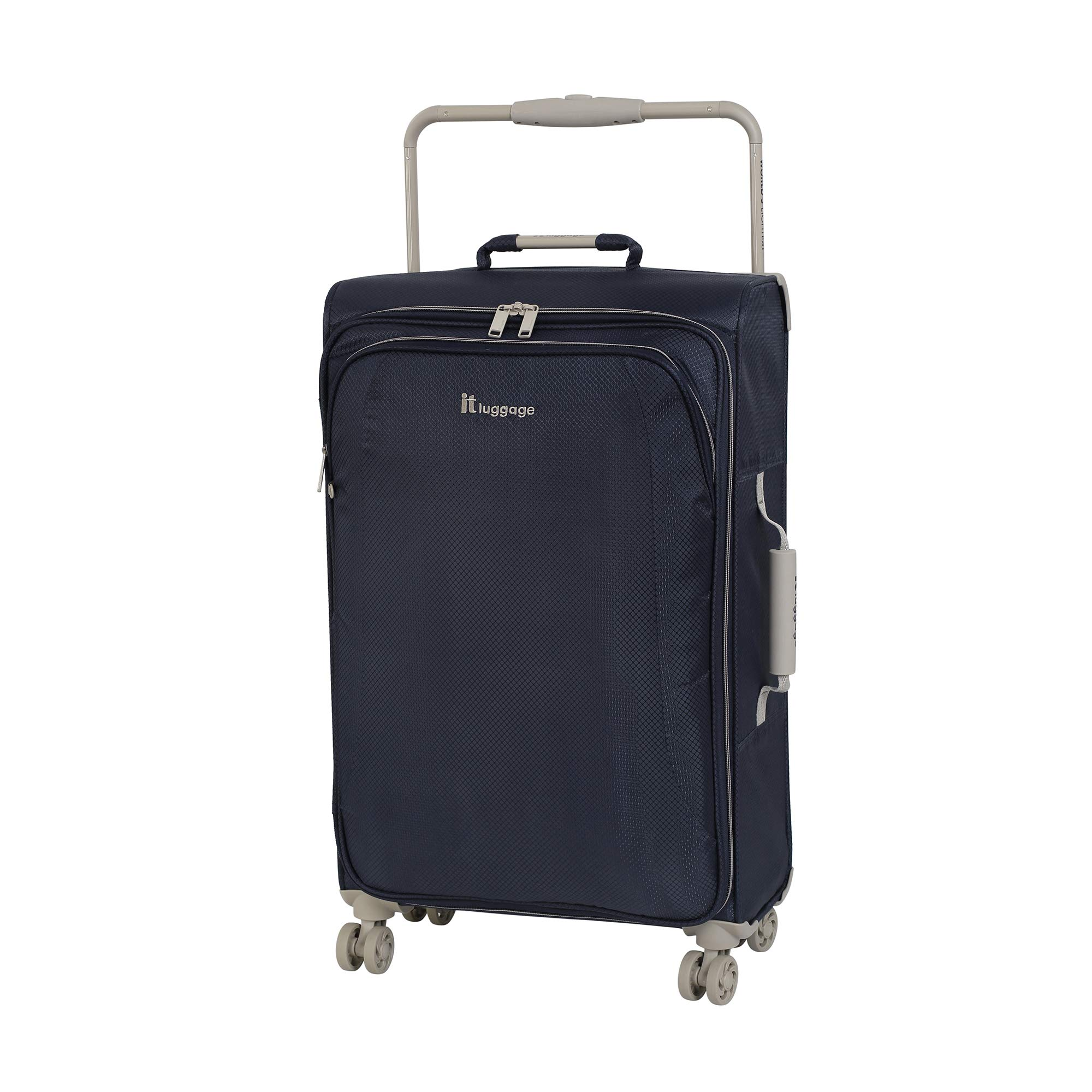 IT Luggage 27.6'' World's Lightest 8 Wheel Spinner, Evening Blue With Cobblestone Trim