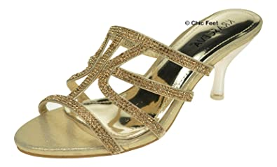 Chic Feet Ladies Womens Gold Diamante Low Heel Dressy Holiday Party Evening  Slip-On Mules e4d41eebeb0