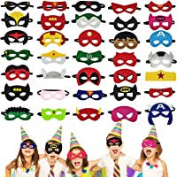 Superhero Masks for kids, 35 PCS Eye Masks Set Birthday Party Favors Decorations, Children Masquerade Avengers Super…
