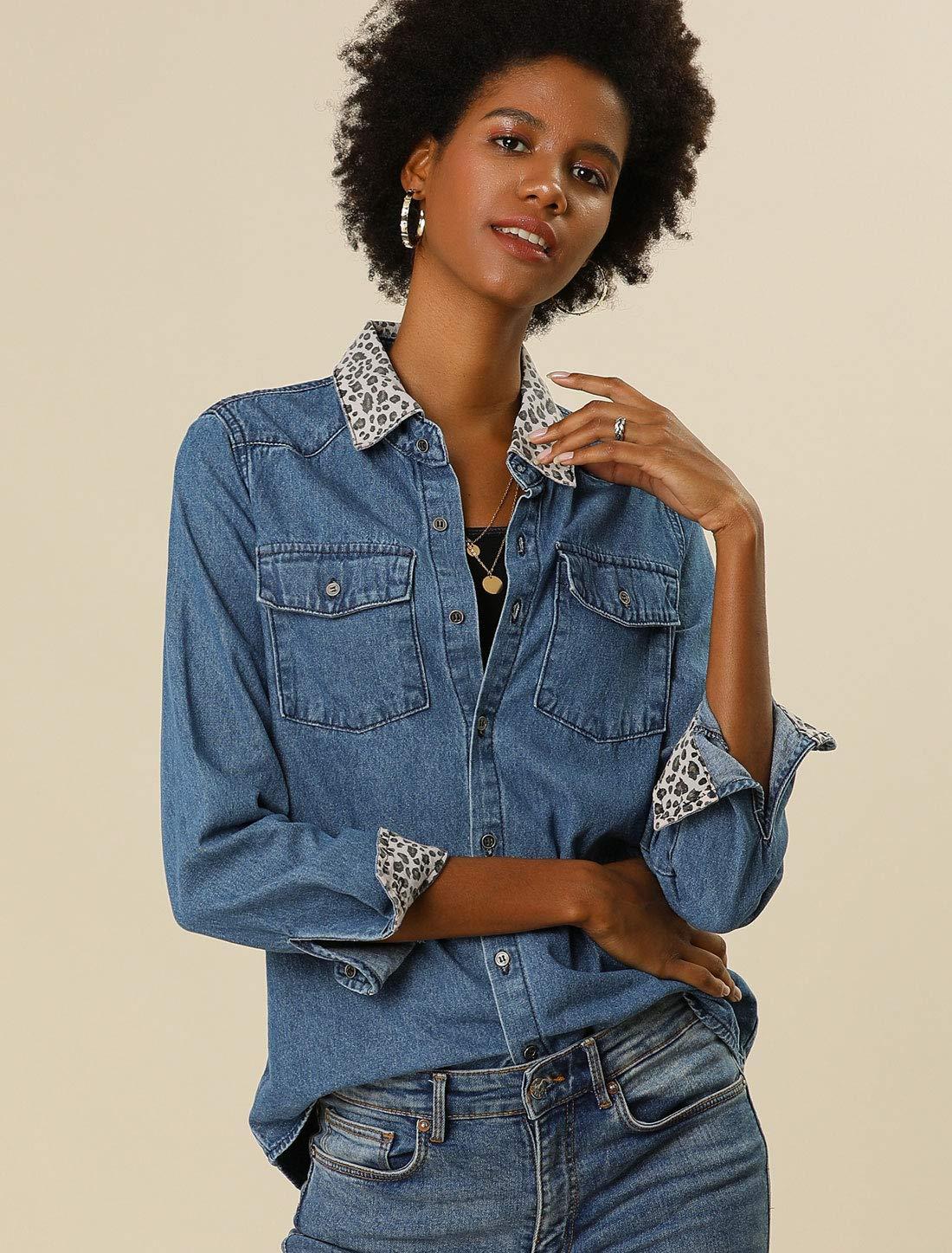 Women's Leopard Print Button Up Long Sleeves Jean Denim Shirt 4