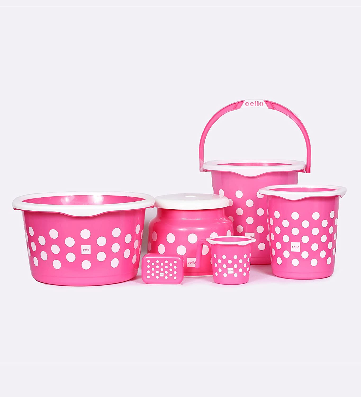 Cello Fusion 6 Piece Plastic Bath Set, Pink