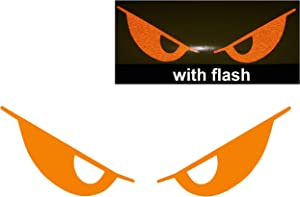 "Orange Evil Eyes No Fear Decal Reflective Reflector Devil Demon Sticker 6"" Inches Wide Flash Night Vinyl Sport Motorbike Helmet Motorcycle Bike Racing Car Badge Sticker Door Window Tailgate Truck Trunk Side Rear Emblem Decals Mac Laptop Notebook"