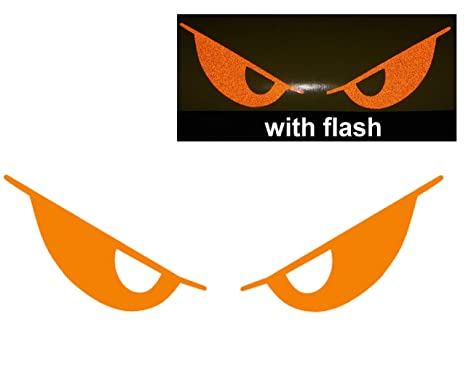 Orange Evil Eyes No Fear Decal Reflective Reflector Devil Demon Sticker 6 Inches Wide Flash Night Vinyl Sport Motorbike Helmet Motorcycle Bike Racing