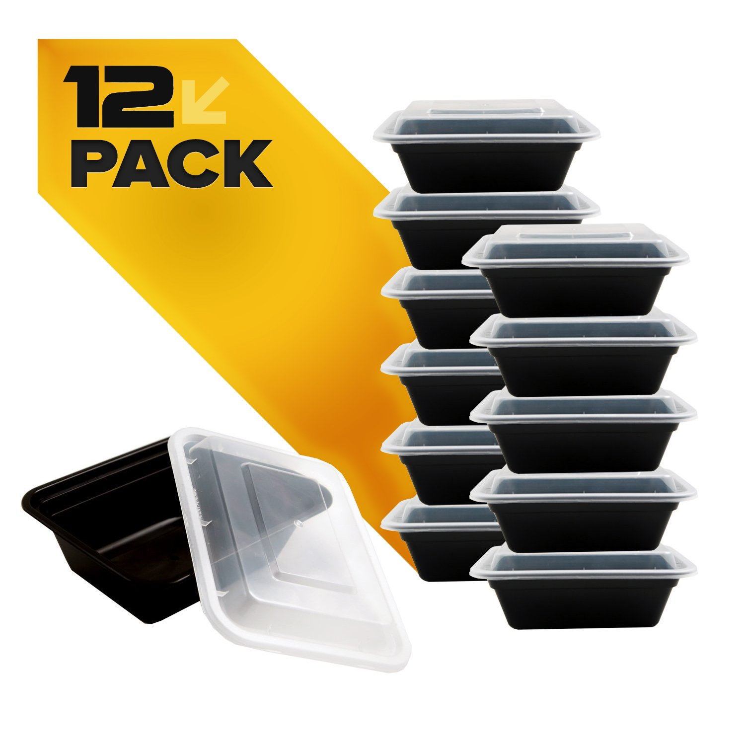Fitpacker MINI Meal Prep Containers - BPA-free - Reusable, Washable, Microwavable Healthy Food Containers with Lids (12 Pack, 12 Ounce) (12)