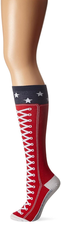 K. Bell Women's Top Sneaker with Stars Knee High Red 9-11 KBWF15N078-01