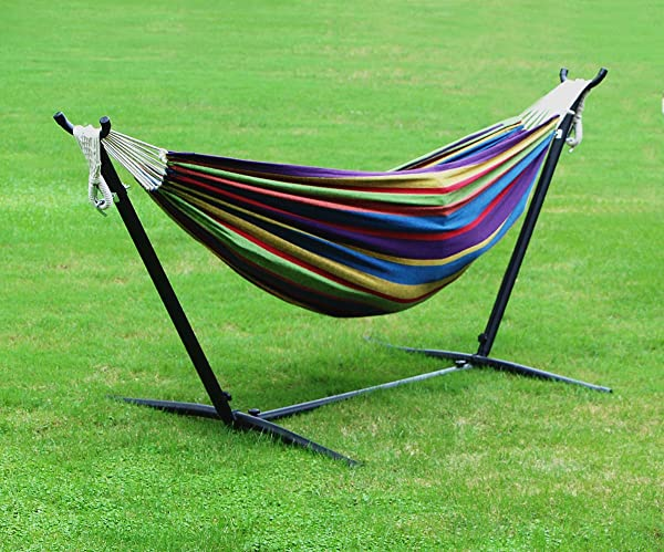 homedex 9 denim double hammock with space saving steel stand