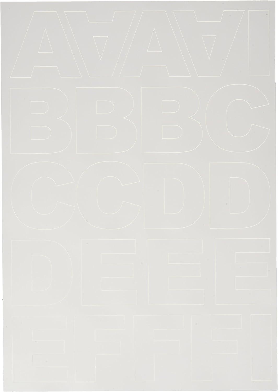 Autoadesive 3 cm Rayher Hobby 38921000 Lettere corsivo A4 Bianco