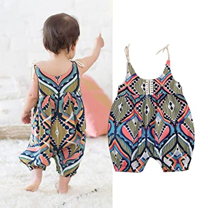 8acef66c475 Amazon.com  Franterd Baby Girls Straps Rompers