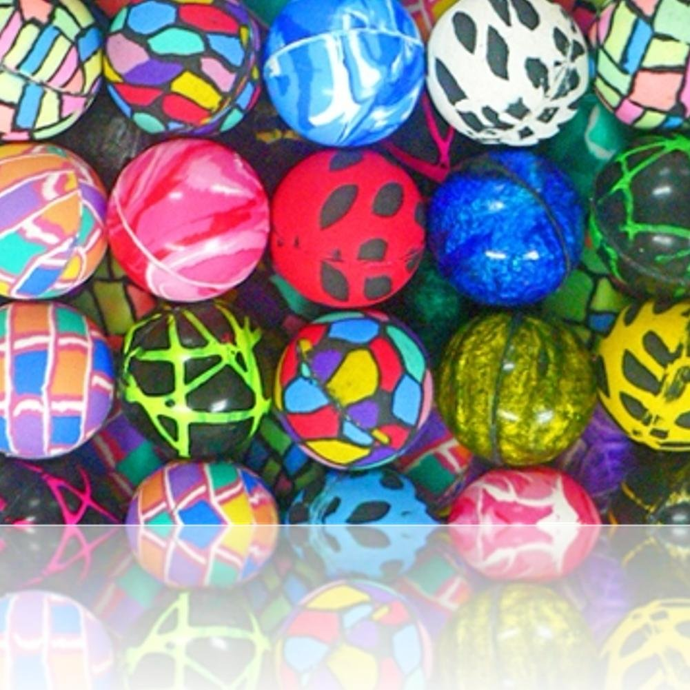 Custom & Unique {49mm} 300 Bulk Pack, Mid-Size Super High Bouncy Balls, Made of Grade A+ Rebound Rubber w/ Birthday Party Assorted Pattern Vibrant Unisex Wacky Glittery Solid Swirl Style (Multicolor)
