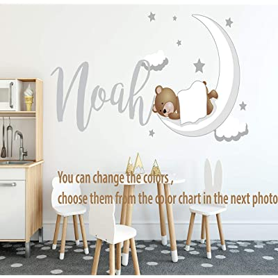 """Custom Name Cute Sleepy Bear Stars & Moon Clouds Wall Decal - MT07 - W 32"""" x 16"""" H .Removable Nursery Wall Decal for Baby Room - Mural Wall Decal Sticker for Home Children's Bedroom: Home & Kitchen"""