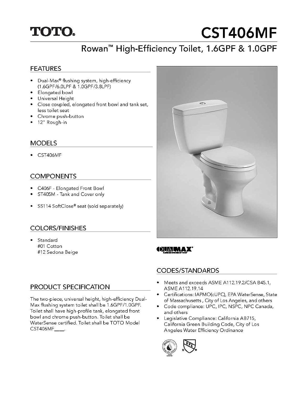 Toto CSTMF Rowan Toilet Tank And Bowl Cotton Piece - Toilet bowl tank parts