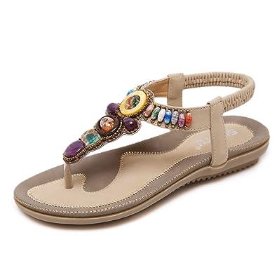 achat original Beau design meilleur prix Landove Chaussures de Plage Sandales Boheme Chic Tongs Femme ...