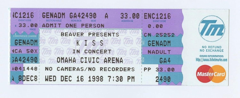 Kiss Ticket 1998 Dec 16 Psycho Circus Tour Omaha Civic Auditorium Ne