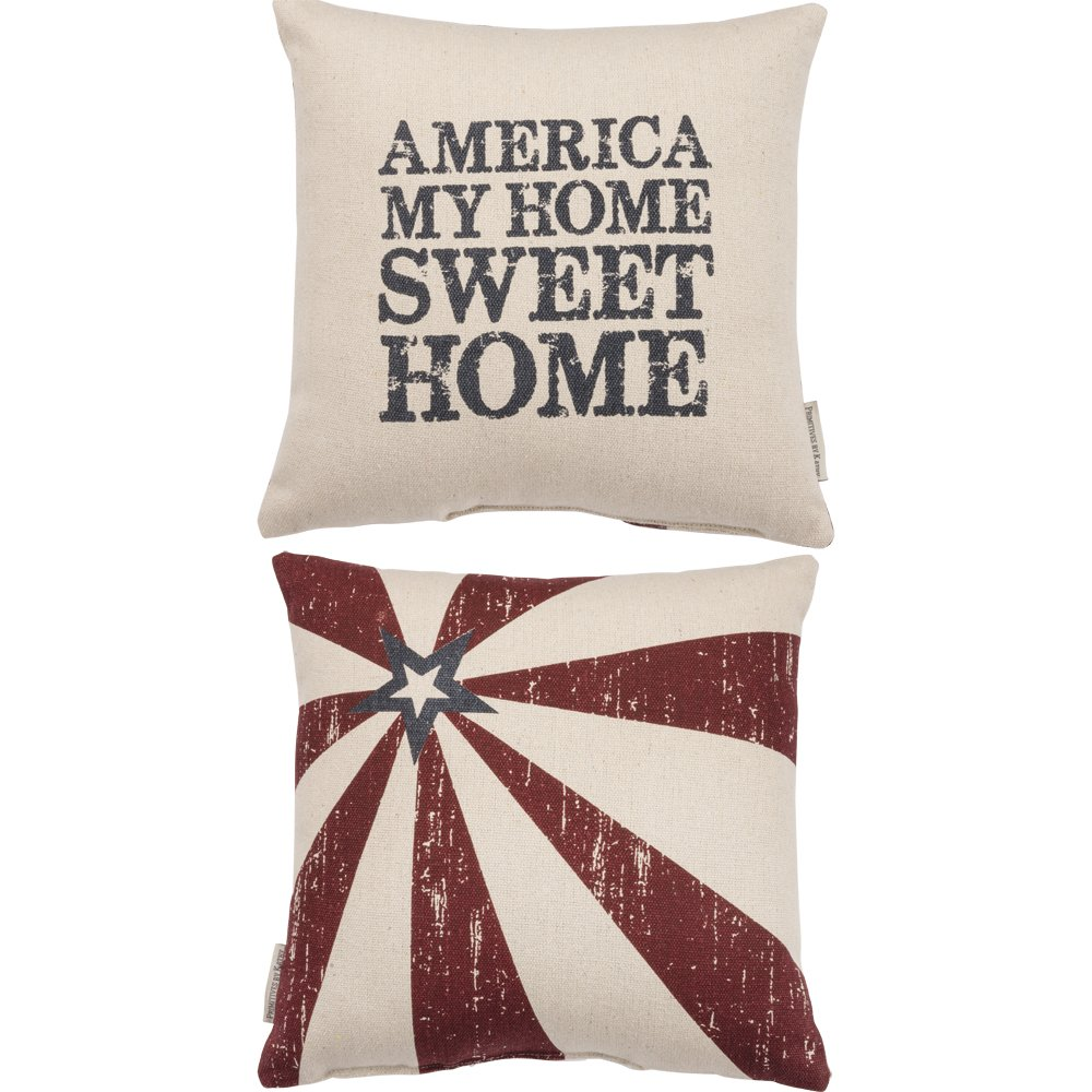 Primitives by Kathy Patriotic America My Home Throw Pillow, 14-Inch Square