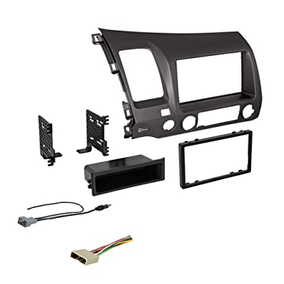 Double DIN Dash Kit for 2006-2011 Honda Civic with Antenna Adapter & Harness… (Dark Metallic) | Compatible with All Trim Levels: Car Electronics