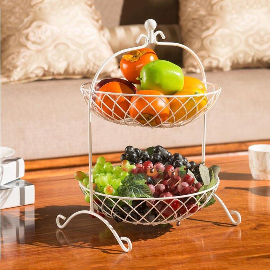Color : WHITE Silai Creative Fashion Fruit Basket 28cm Living Room Fruit Bowl Metal Two Tier Fruit Plate,Iron Flower Baskets Kitchen Racks Dried Fruit Bowl,46