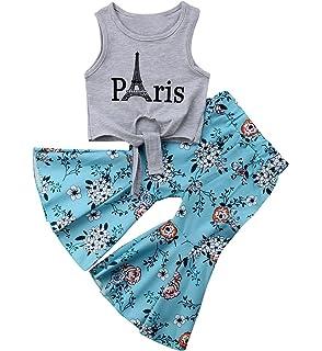 d8c3e963d040a Toddler Baby Girl Clothes Outfits Paris Sleeveless Vest Tops T-Shirt+Floral  Wide Leg