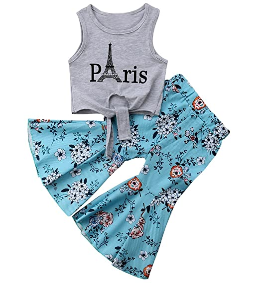 f1426472a0b Toddler Baby Girl Clothes Outfits Paris Sleeveless Vest Tops T-Shirt+Floral  Wide Leg