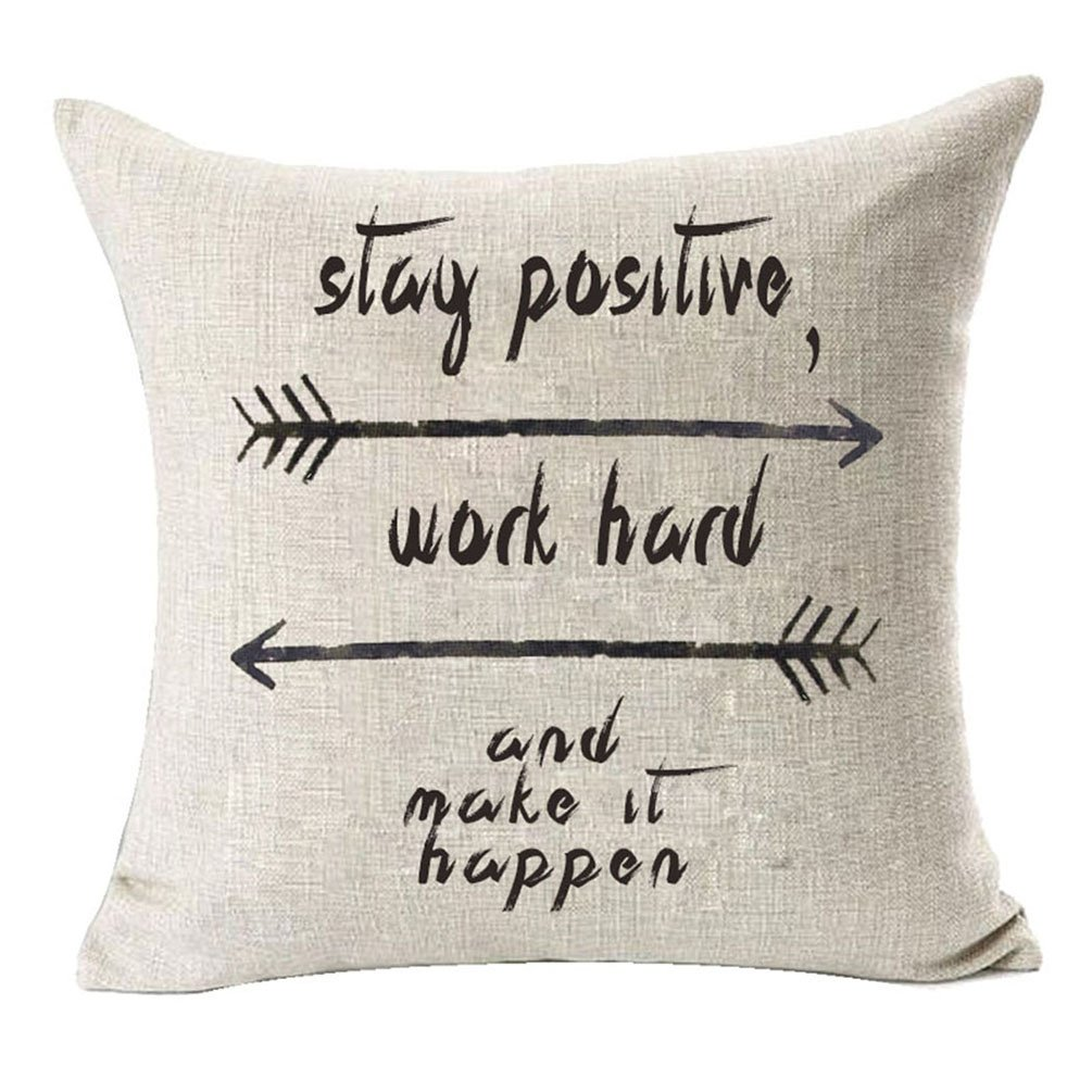 Baroncover Home Decor Cotton Linen Pillow Covers 18x18 Cute Letters and Arrows Pattern Throw Pillow Case Cushion Cover for Sofa