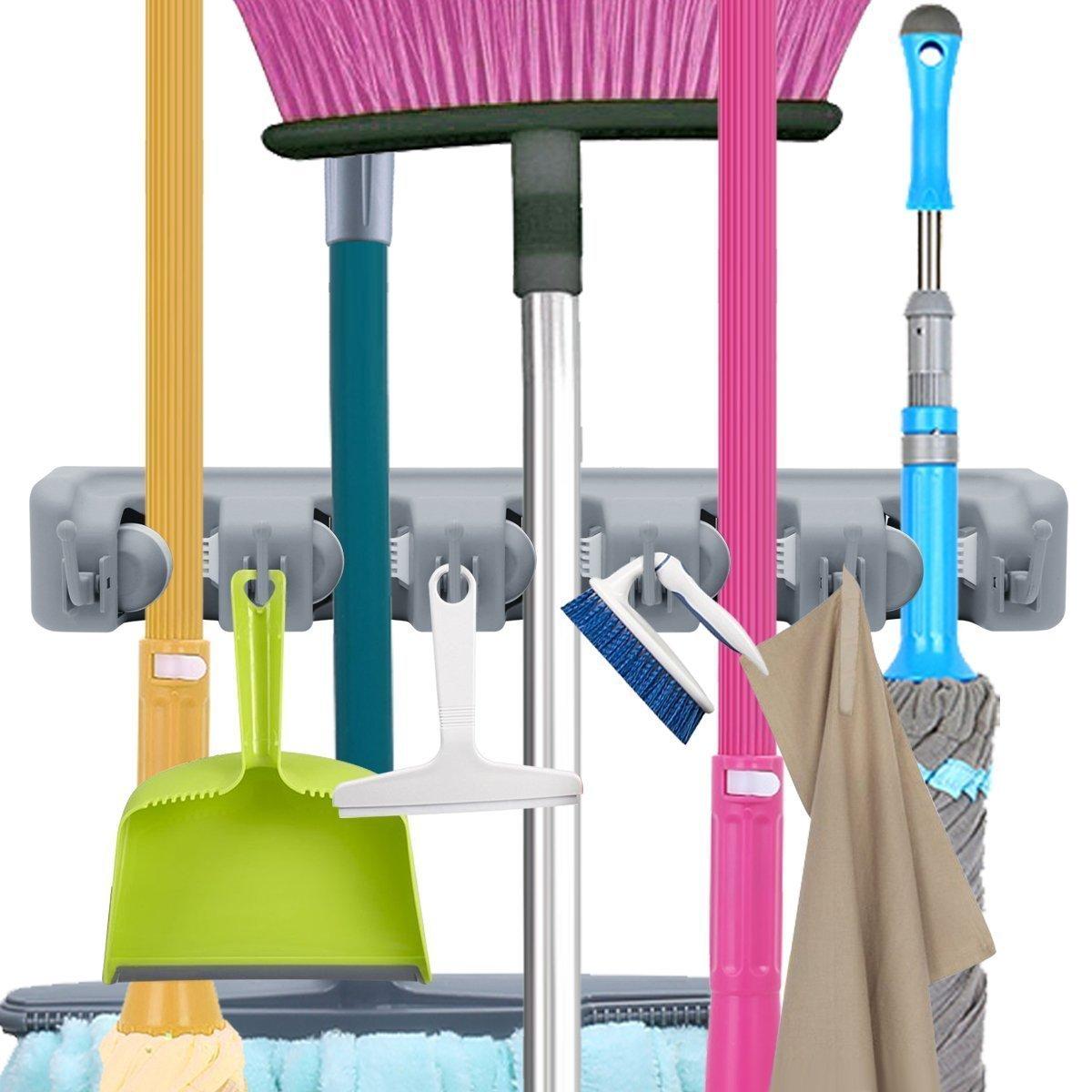 wllindustry Mop Broom Holder Garage Storage Hooks Wall Mounted Organizer Home Tools Storage Rack for Kitchen, Garage, Commercial Bathroom Laundry Room Closet Gardening(5 Position 6 Hooks)