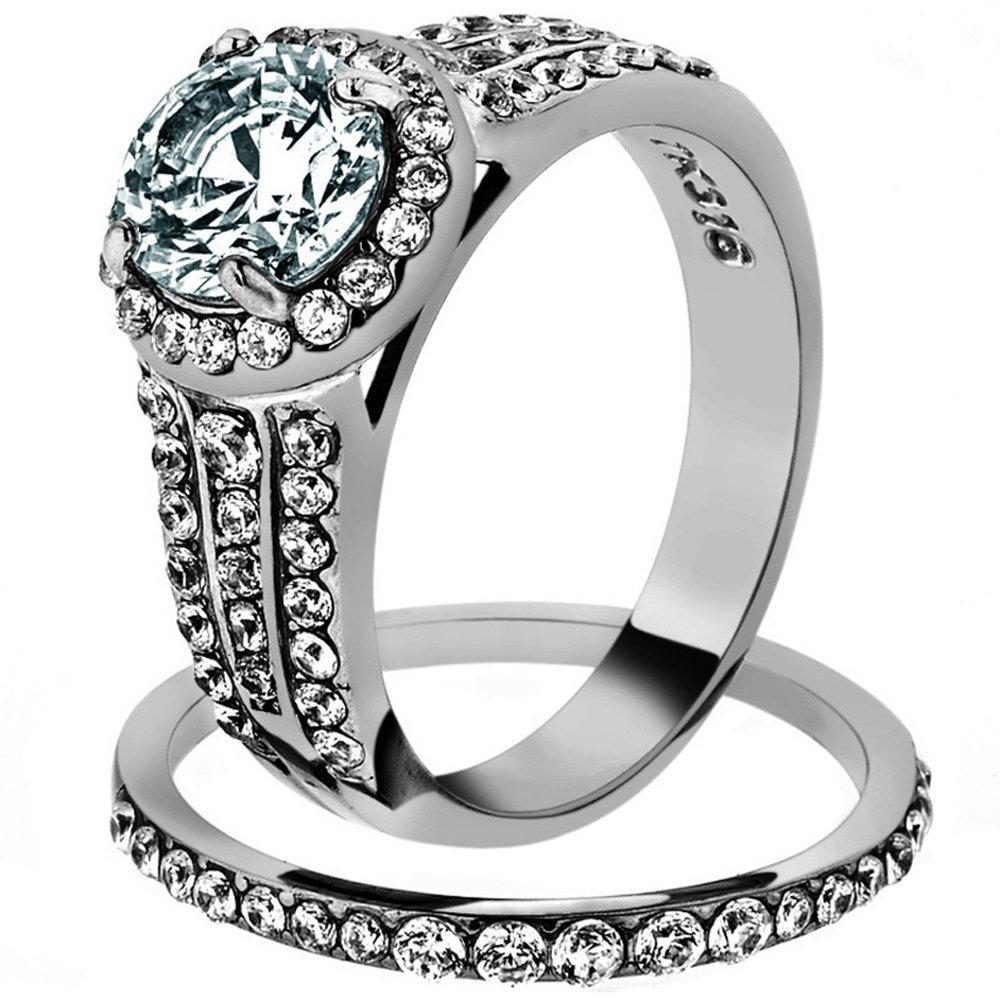 2.45 Ct Halo Round Cut Zirconia Stainless Steel Wedding Ring Set Women's Size 7