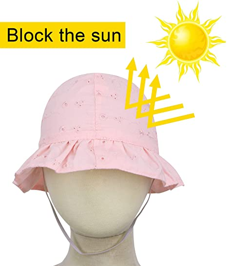 da2e8e323 SimpliKids Baby Infant Sun Hats Floral Embroidered Cotton Sun Bucket Hats